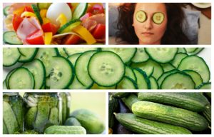 Various uses of cucumbers in the image
