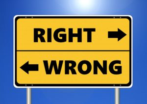 Image suggesting ethical values of right and wrong